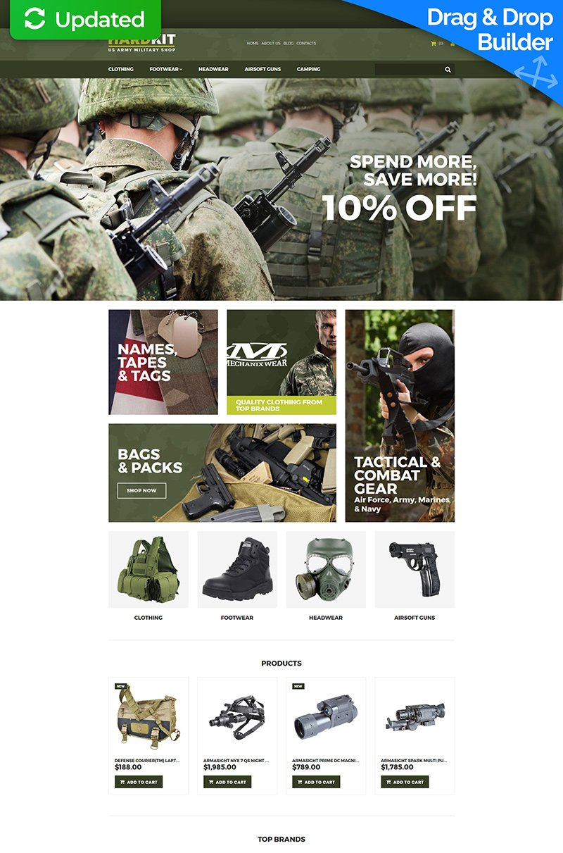 """Template MotoCMS E-commerce Responsive #66562 """"HardKit - US Army Military Store"""""""