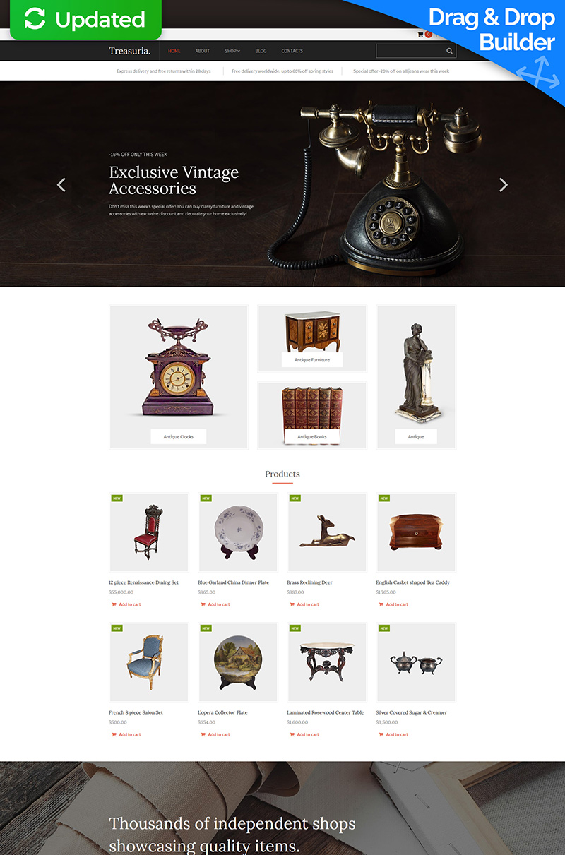 Treasuria - Antique Shop MotoCMS Ecommerce Template
