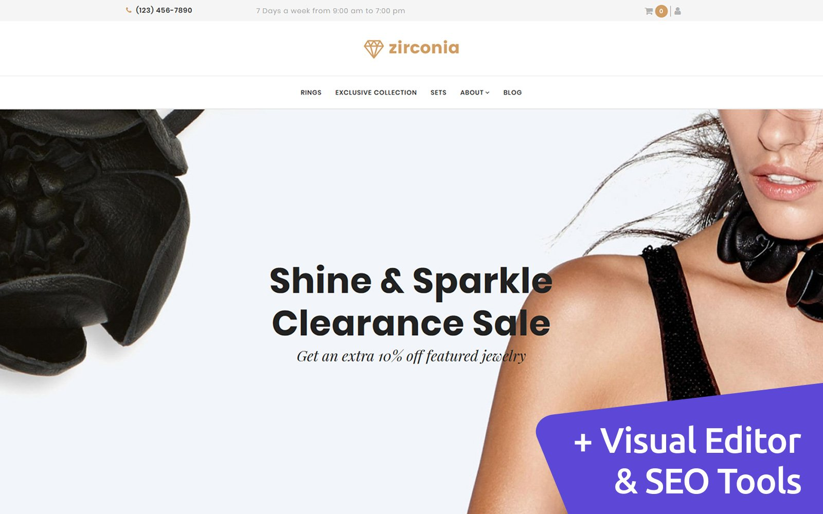 Zirconia - Jewelry & Accessories Store MotoCMS Ecommerce Template