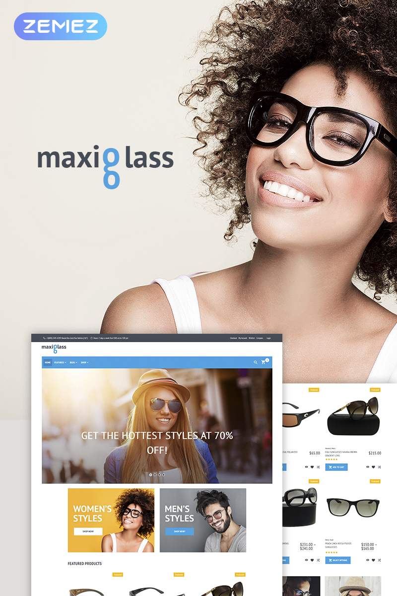 "Tema WooCommerce ""MaxiGlass"" #66604 - captura de pantalla"