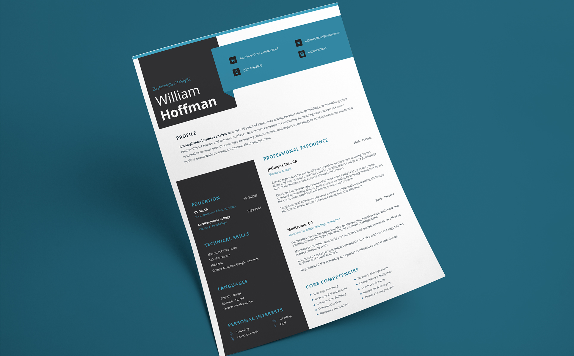 William Hoffman  Business Analyst Resume Template