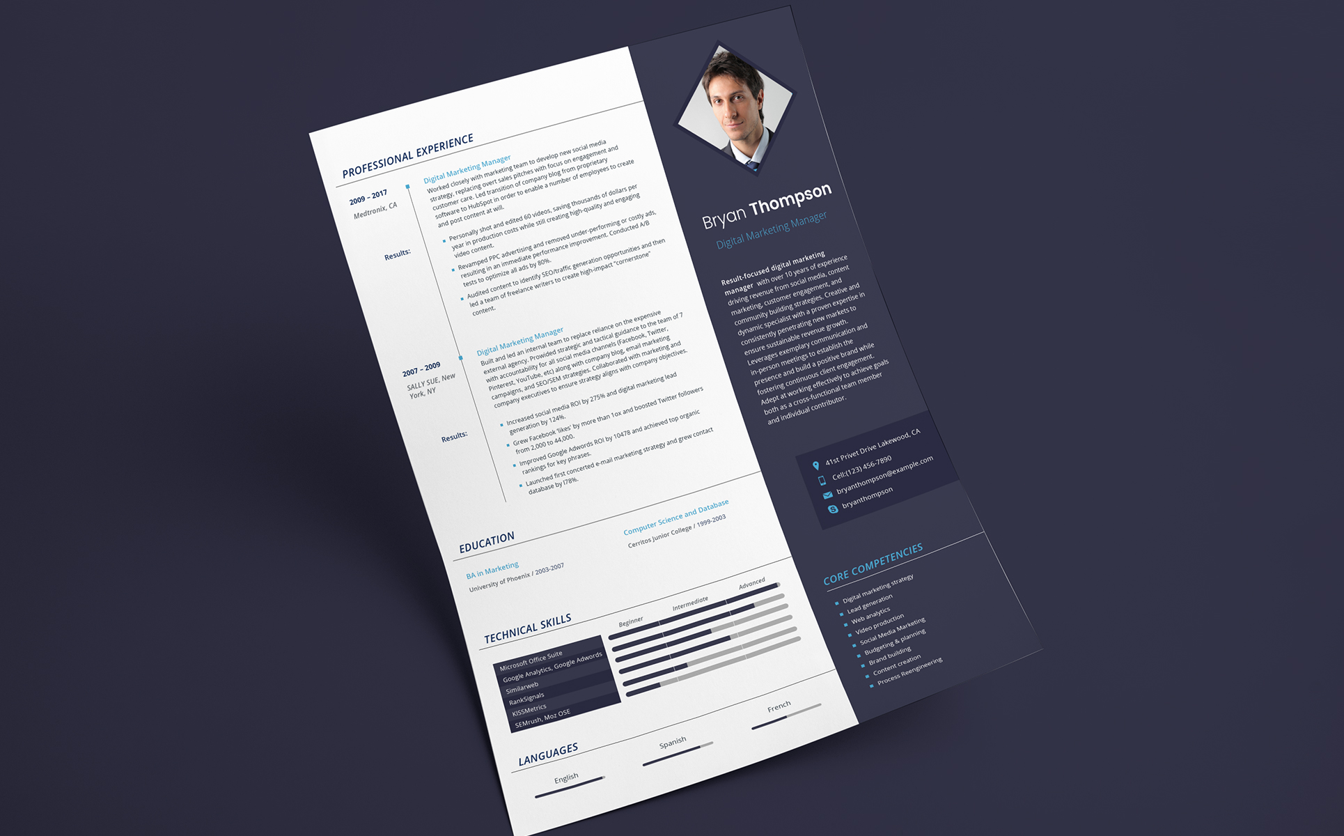 Bryan Thompson  Digital Marketing Manager Resume Template