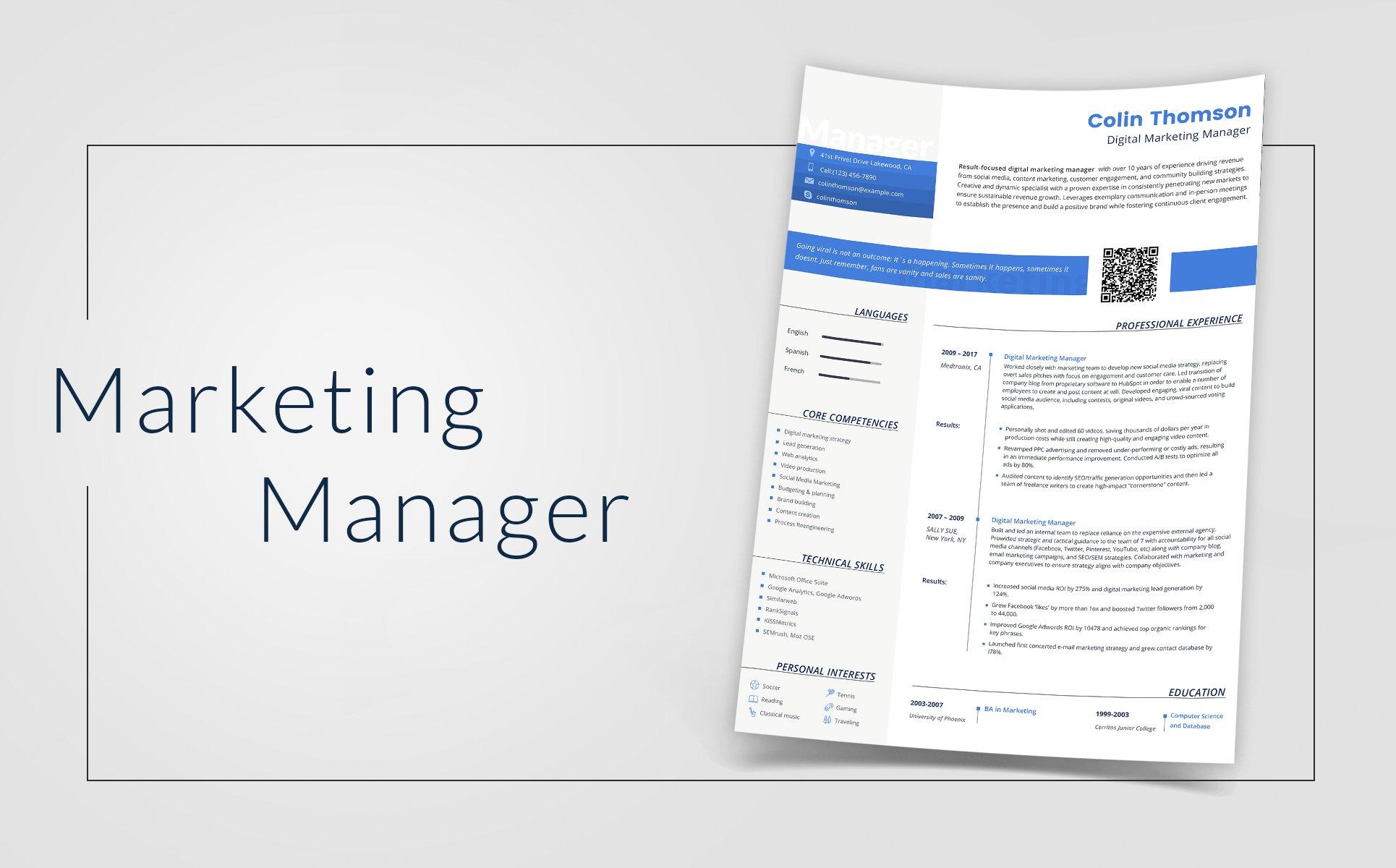 Lebenslauf-Vorlage #66793 für Marketing-Agentur