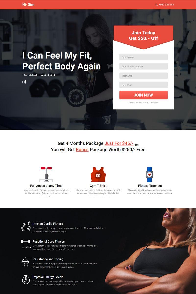 """Hi-Gim - Gym Landing Page"" modèle Muse  #66775"
