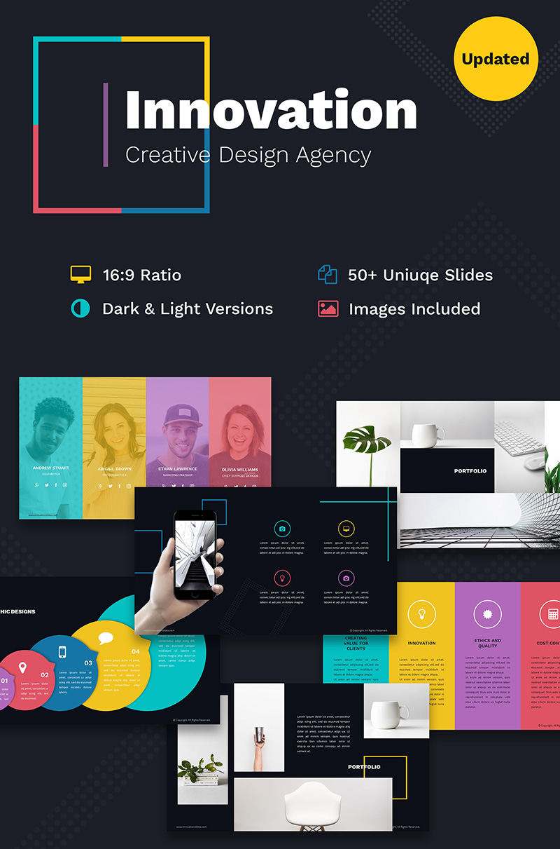 """Innovation Creative PPT For Design Agency"" PowerPoint Template №66797"