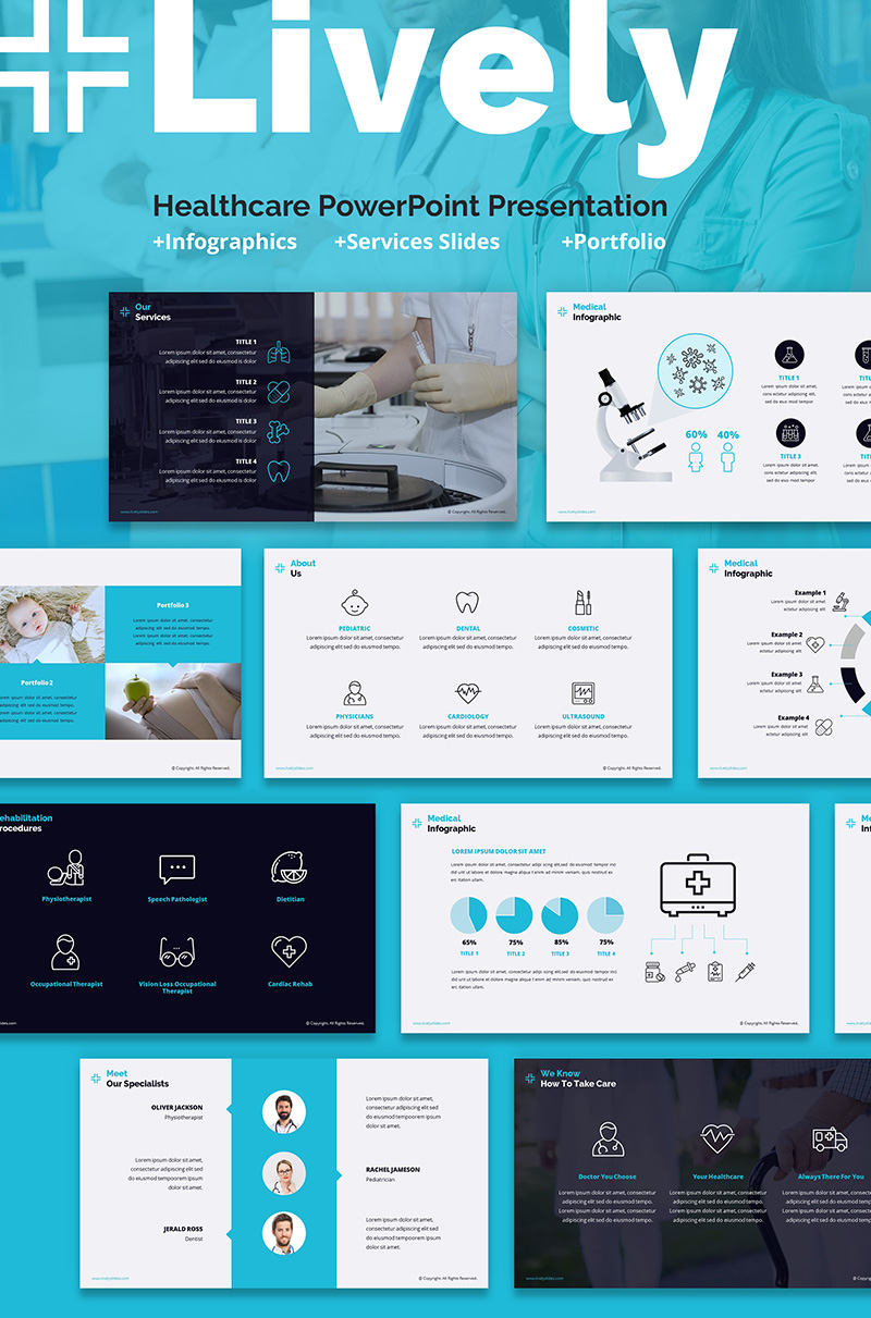 """""""Lively Healthcare PPT Slides"""" PowerPoint Template №66798"""