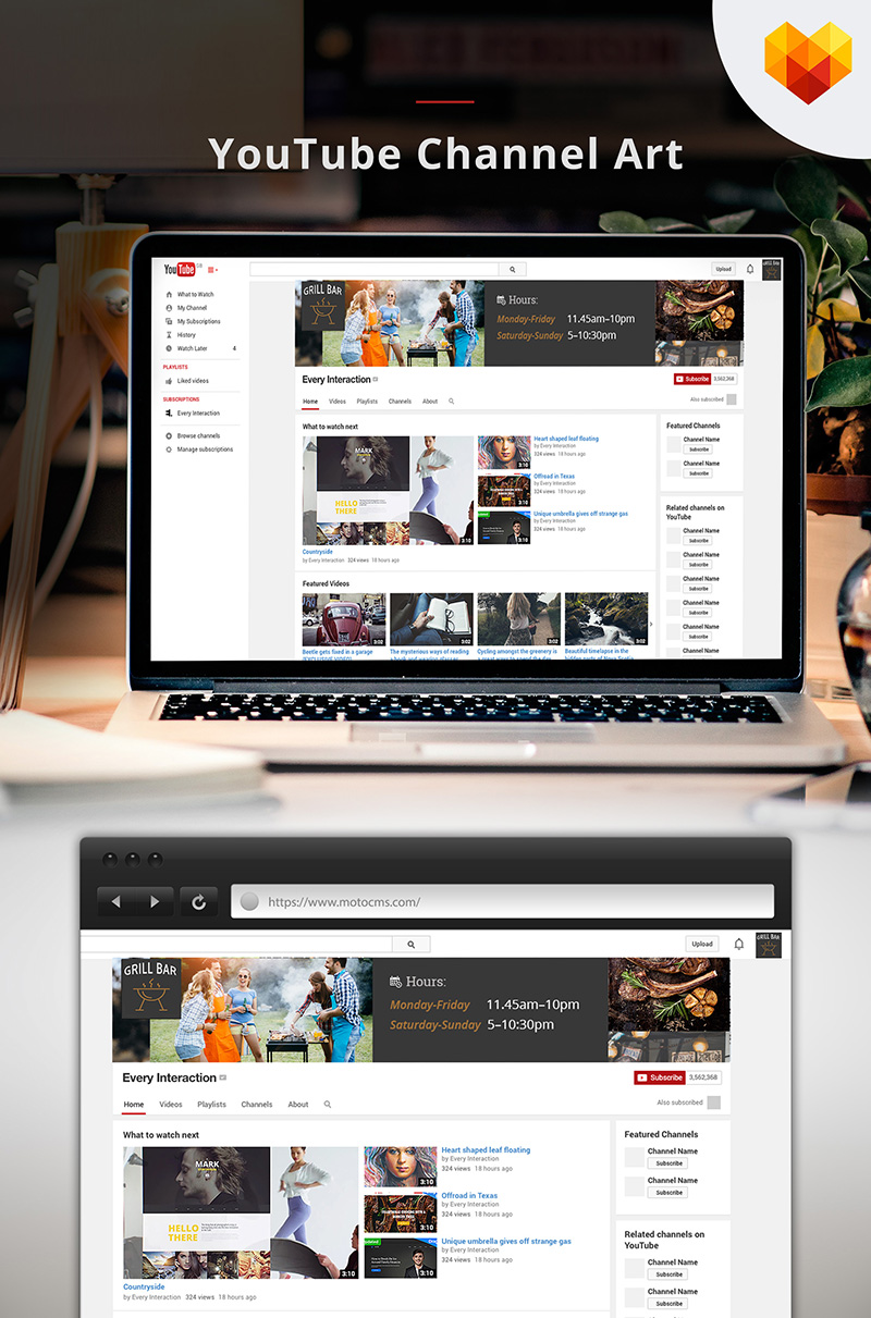 "Medios Sociales ""Grill Bar Youtube Channel Art"" #66795 - captura de pantalla"