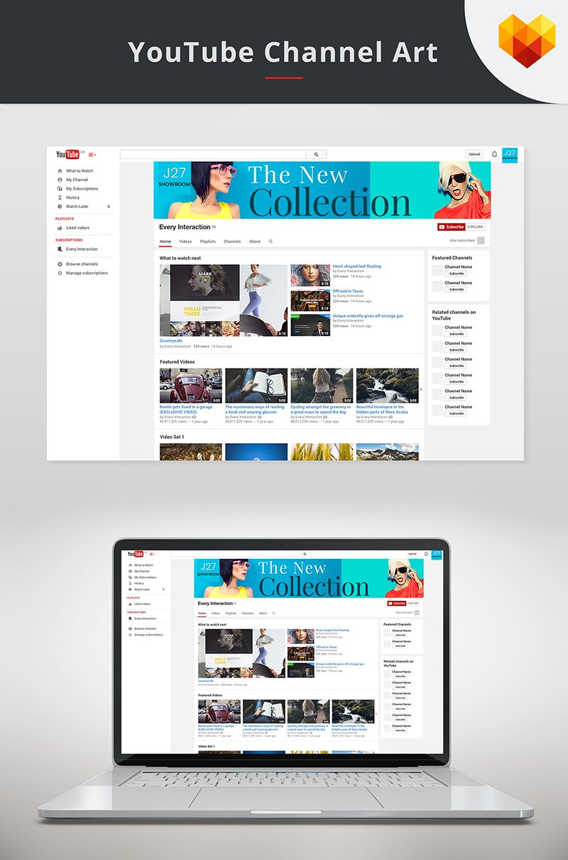 "Medios Sociales ""YouTube Cover Template For Fashion Store"" #66796"