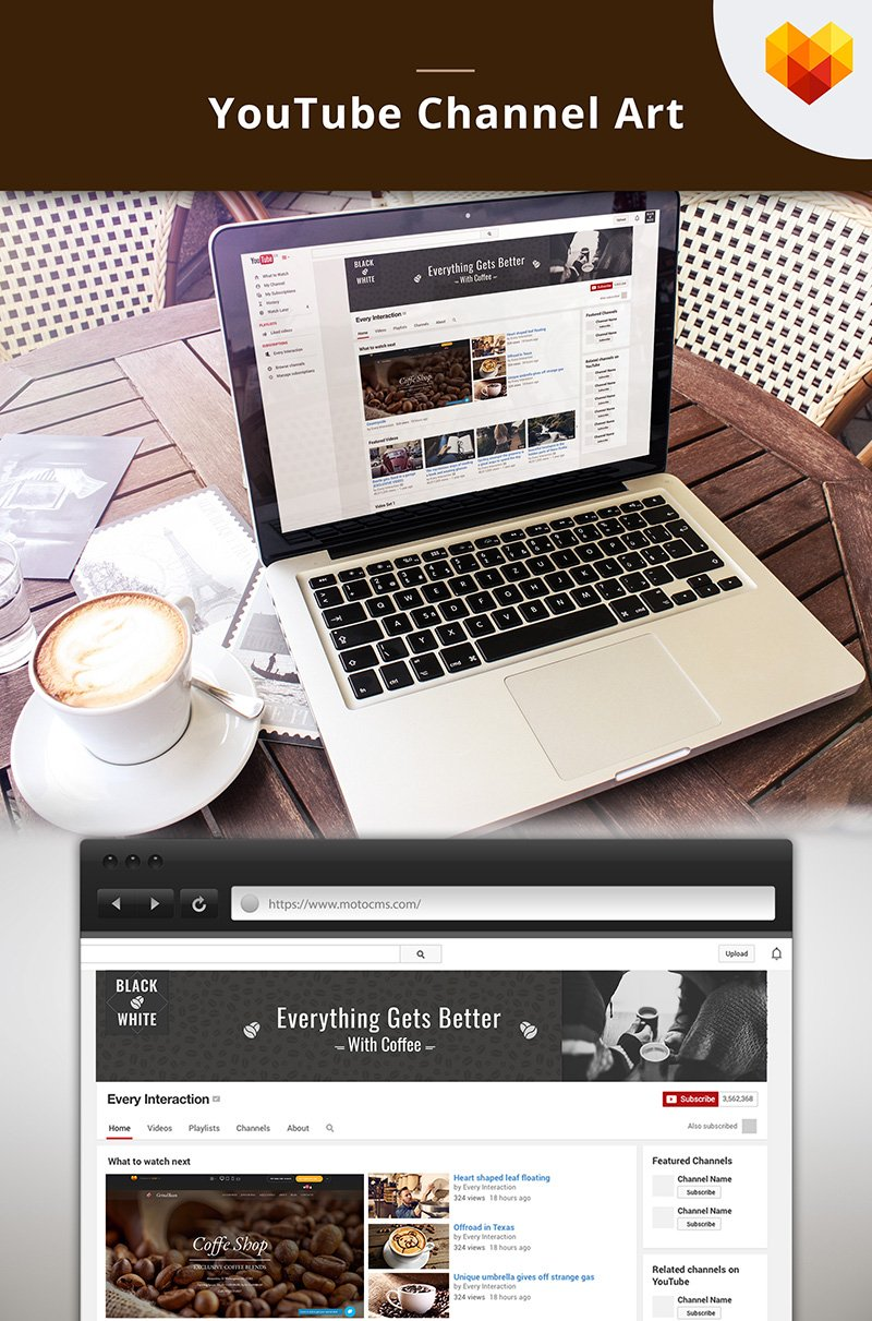 "Modello Social Media #66794 ""Coffee Shop Youtube Channel Art"""