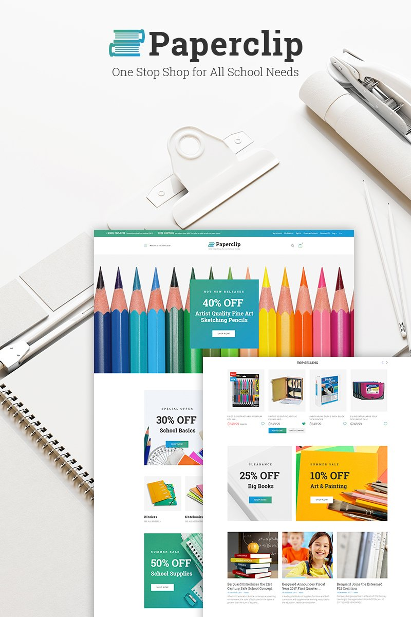 """Paperclip - School Shop"" WPML Ready WooCommerce Thema №66769"