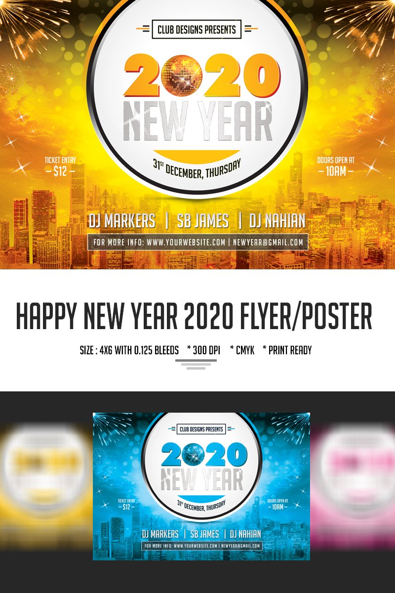 """Plantilla PSD """"New Year Party Flyer and Poster 2020"""" #66782"""