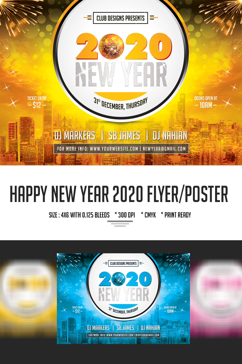 """PSD Vorlage namens """"New Year Party Flyer and Poster 2020"""" #66782"""
