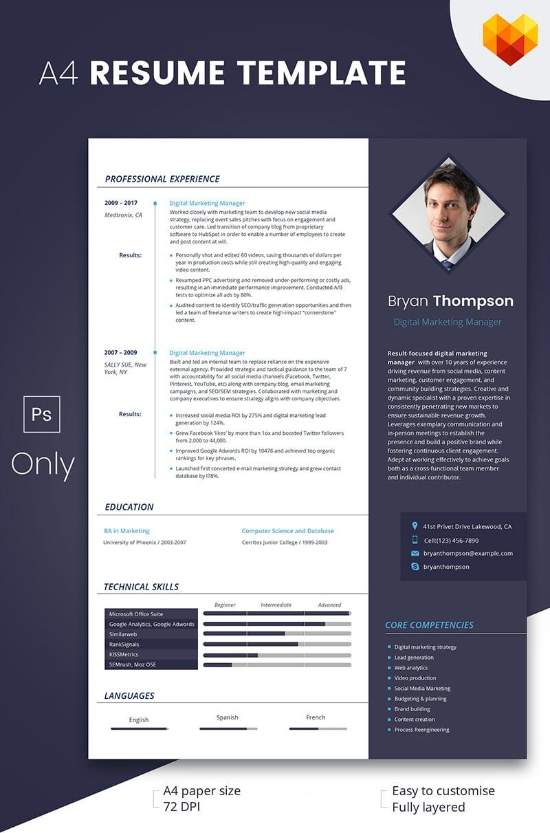 Szablon resume Bryan Thompson - Digital Marketing Manager #66792 - zrzut ekranu