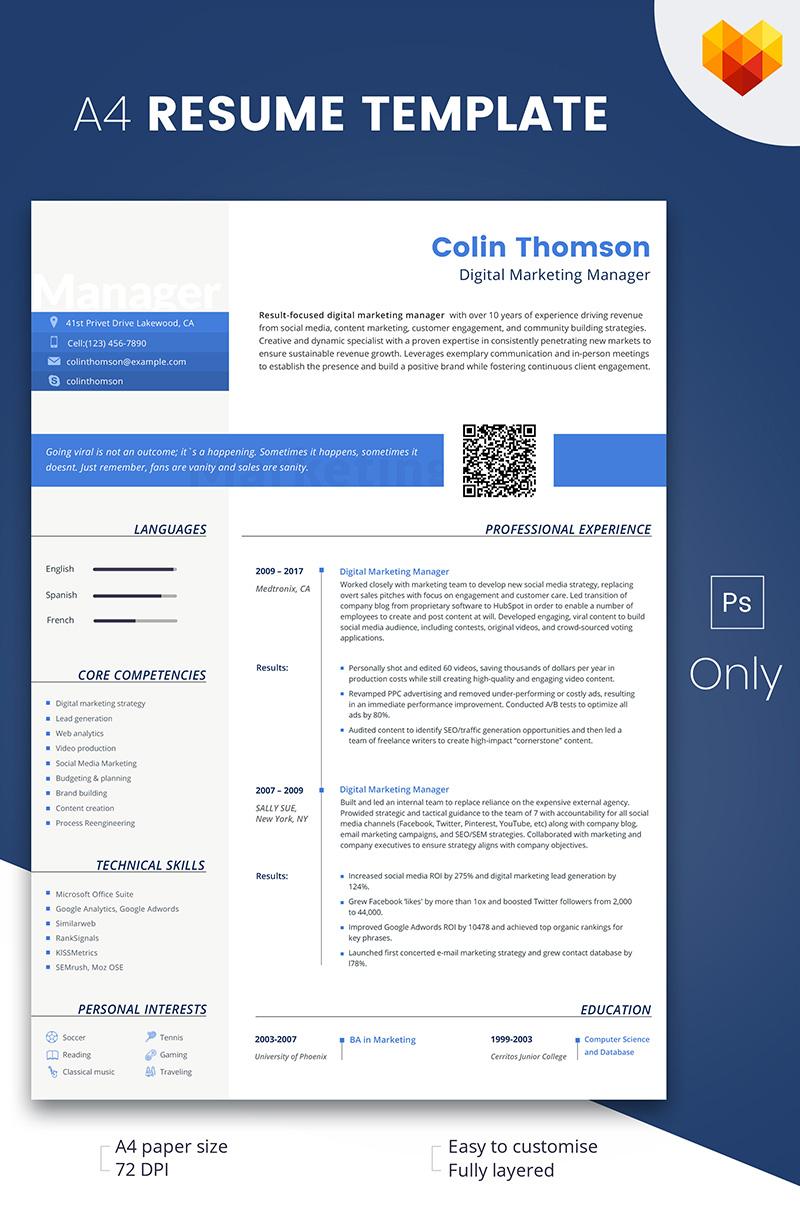 Szablon resume Colin Thompson - Digital Marketing Manager #66793 - zrzut ekranu