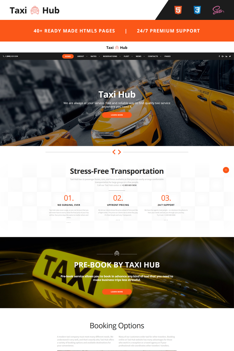 """TaxiHub - Taxi Responsive"" 响应式网页模板 #66766"