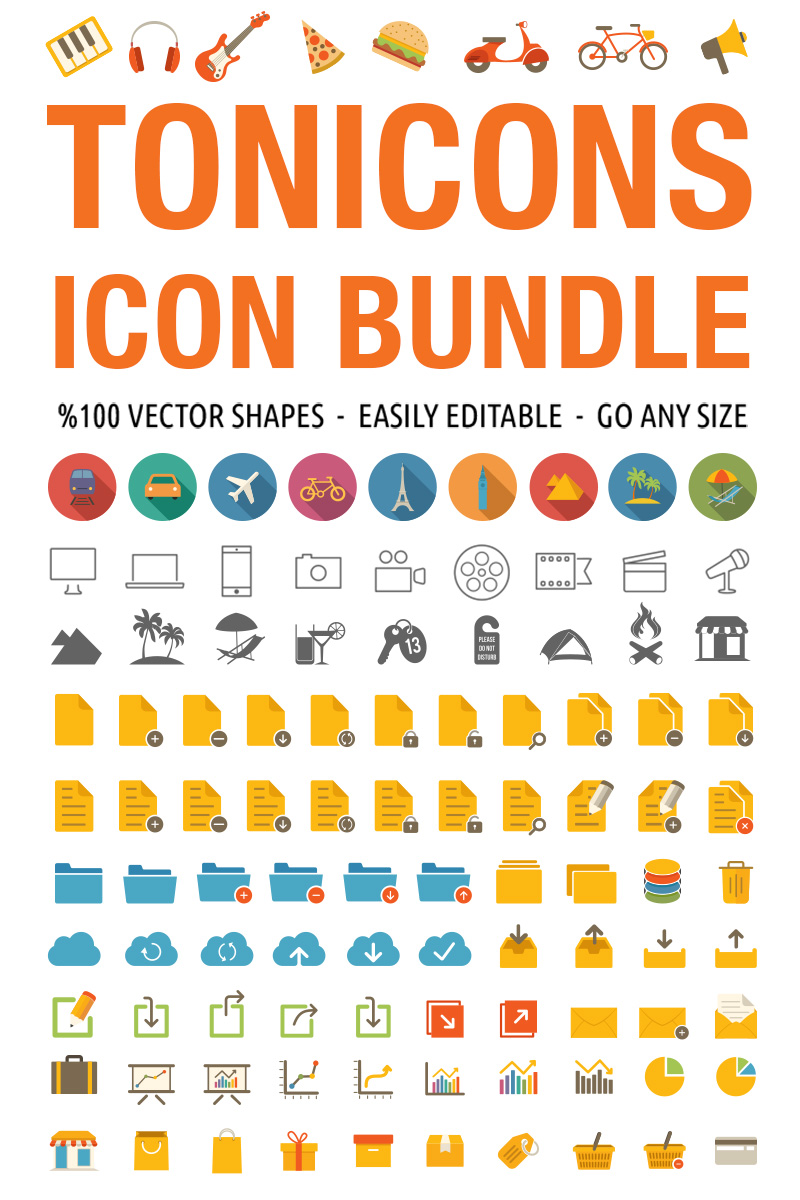 Tonicons - 2000 Vector Icons Iconset Template
