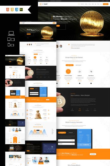 Website Design Template 66836 - currency exchange digital payment system finance investment market mining webstrot share stocks wallet bitmunt trade