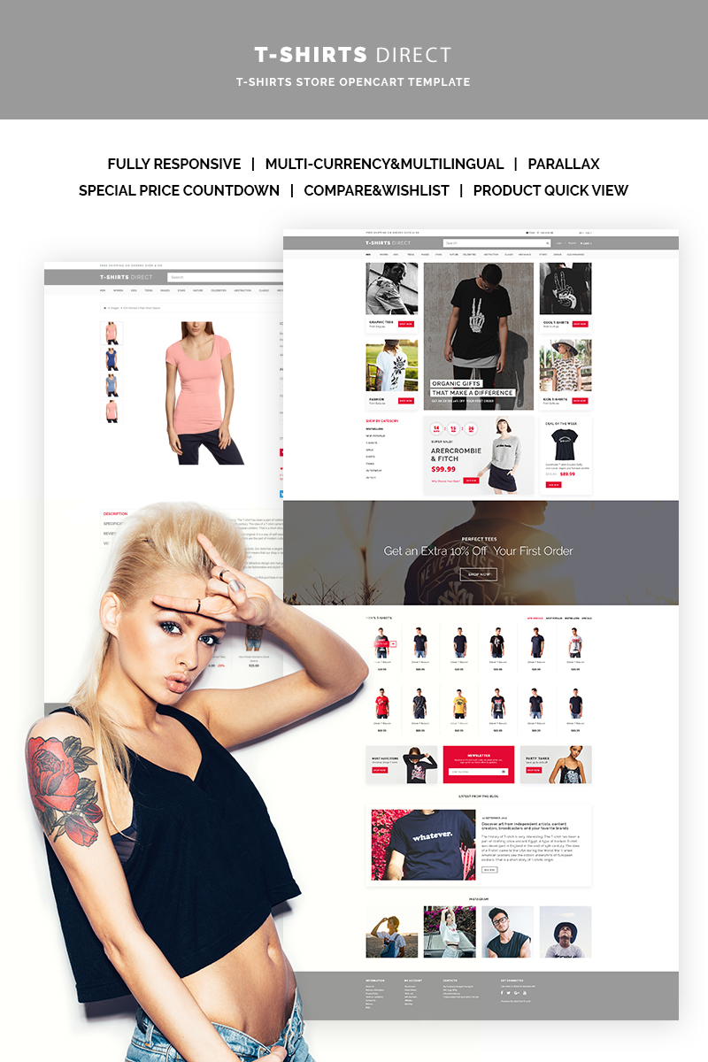 Website Design Template 66899 - shirts clothing opencart kids fashion gifts print online shopping store jeans product