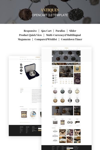 Antiques - Collectible Coins & Supplies OpenCart Template #66883