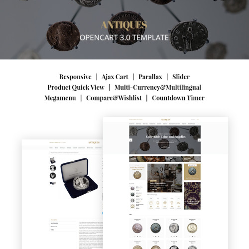Antiques - Collectible Coins & Supplies - OpenCart Template based on Bootstrap