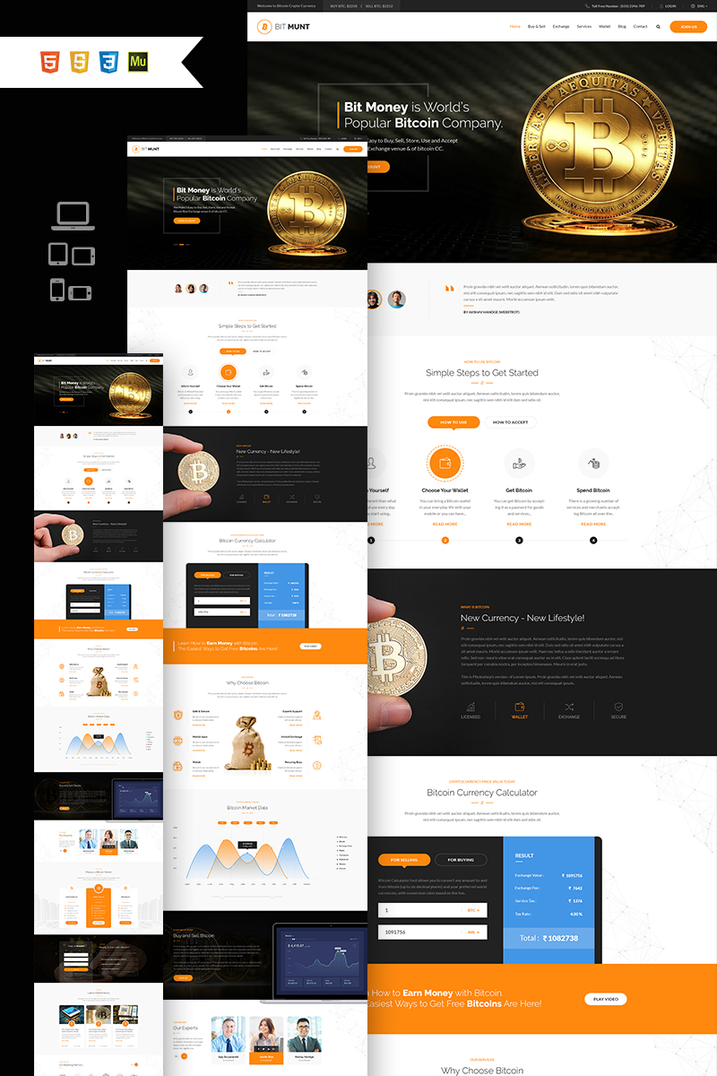"""""""Bit Munt - Bitcoin Crypto Currency"""" Responsive Muse Template №66836"""