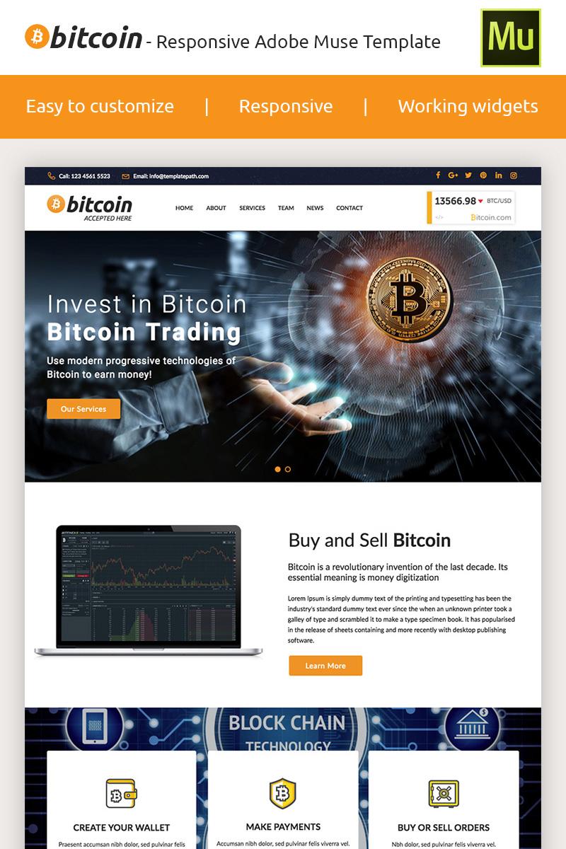"""Bitcoin - Premium Crypto Adobe CC 2017"" Responsive Muse Template №66871"