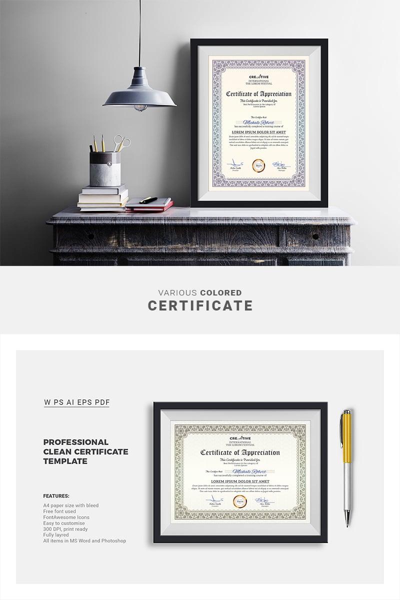 """Corporate & Modern Word Multipurpose"" Premium Certificate Template №66851"