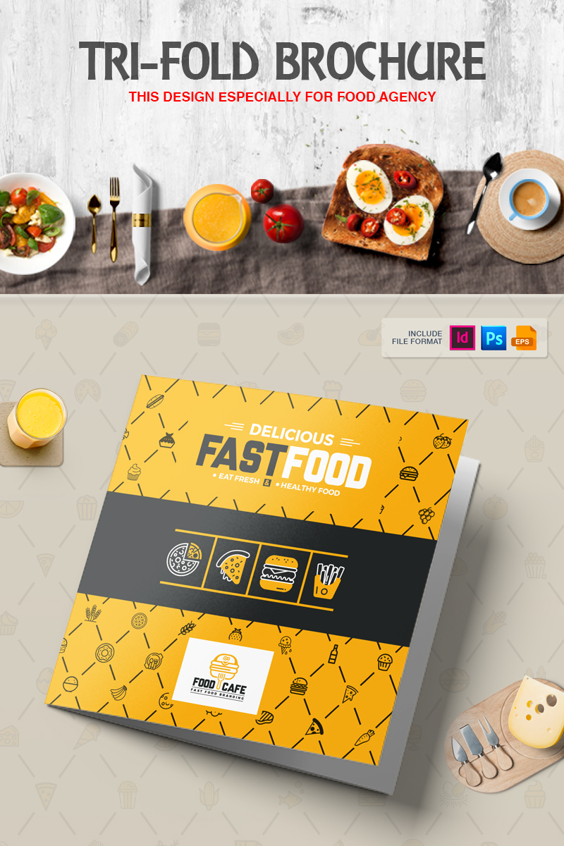 Fast Food TriFold Brochure Corporate Identity Template - Fresh virtual museum template design