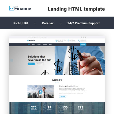 Financial Advisor Responsive Landing Page Template #58520