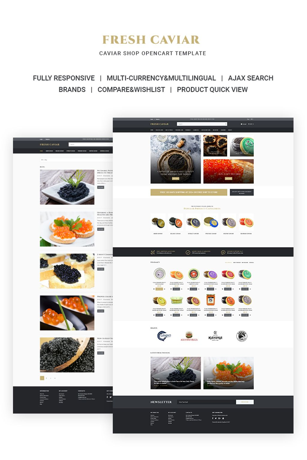 """Fresh Caviar - Caviar Shop"" - адаптивний OpenCart шаблон №66804"