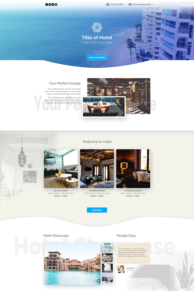 Hotel PSD Template