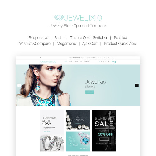 Jewelixio - Jewelry Store - OpenCart Template based on Bootstrap