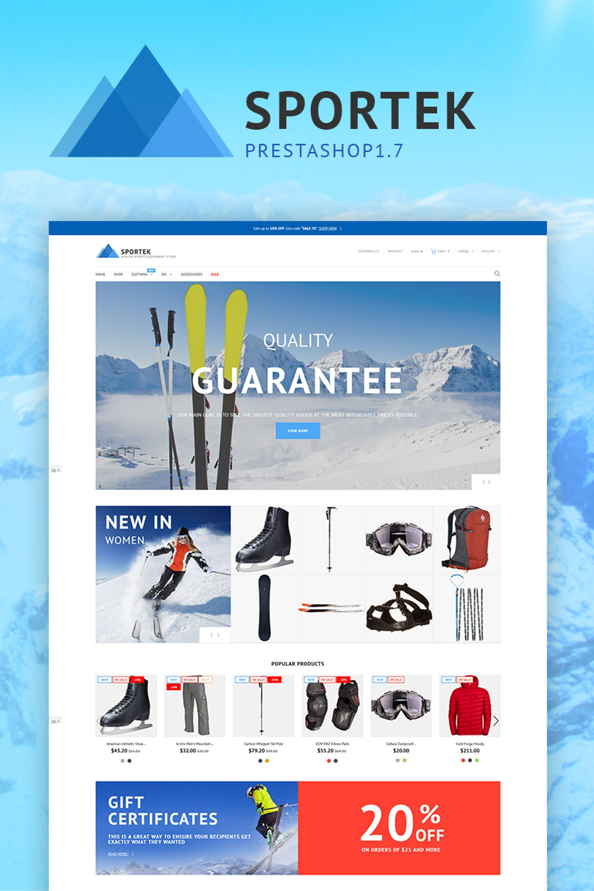 Responsivt Sportek - Winter Sports Equipment Store PrestaShop-tema #66844