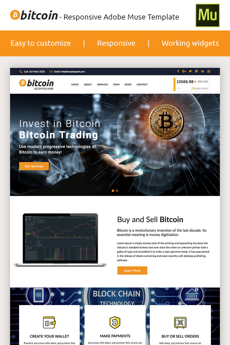Reszponzív Bitcoin - Premium Crypto Adobe CC 2017 Muse sablon 66871