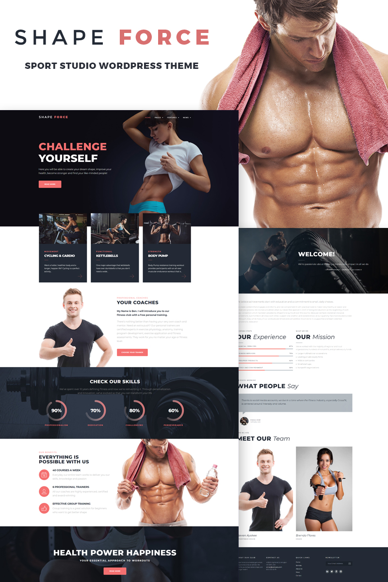 """ShapeForce - Sport Studio"" Responsive WordPress thema №66818"