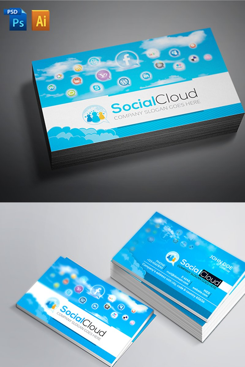 Social Media Business Card Corporate Identity Template #66881