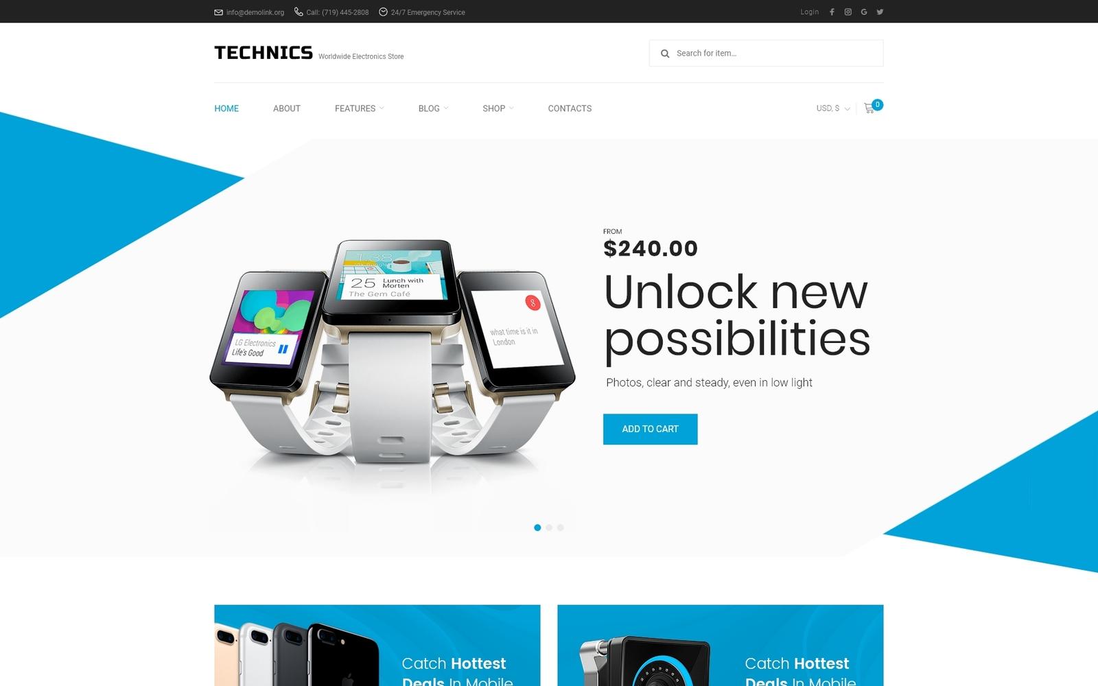 """""""Technics - Electronics Store"""" - адаптивний WooCommerce шаблон №66830"""