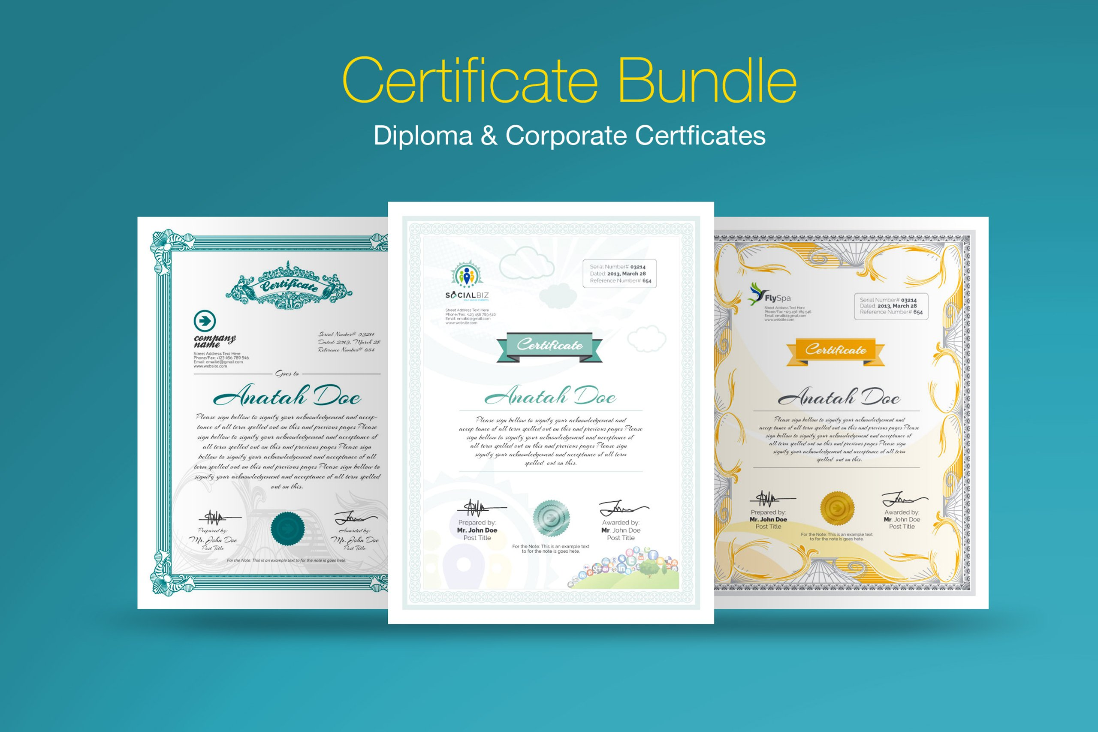 "Template di certificato #66892 ""Diploma Certificate Bundle"""