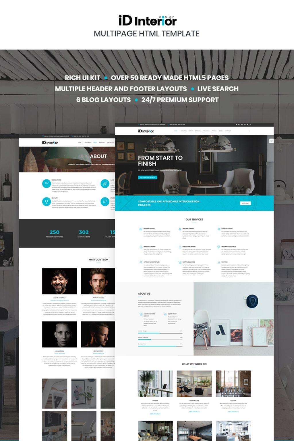 """Template Siti Web Responsive #66865 """"iD Interior - Interior Design HTML5"""""""
