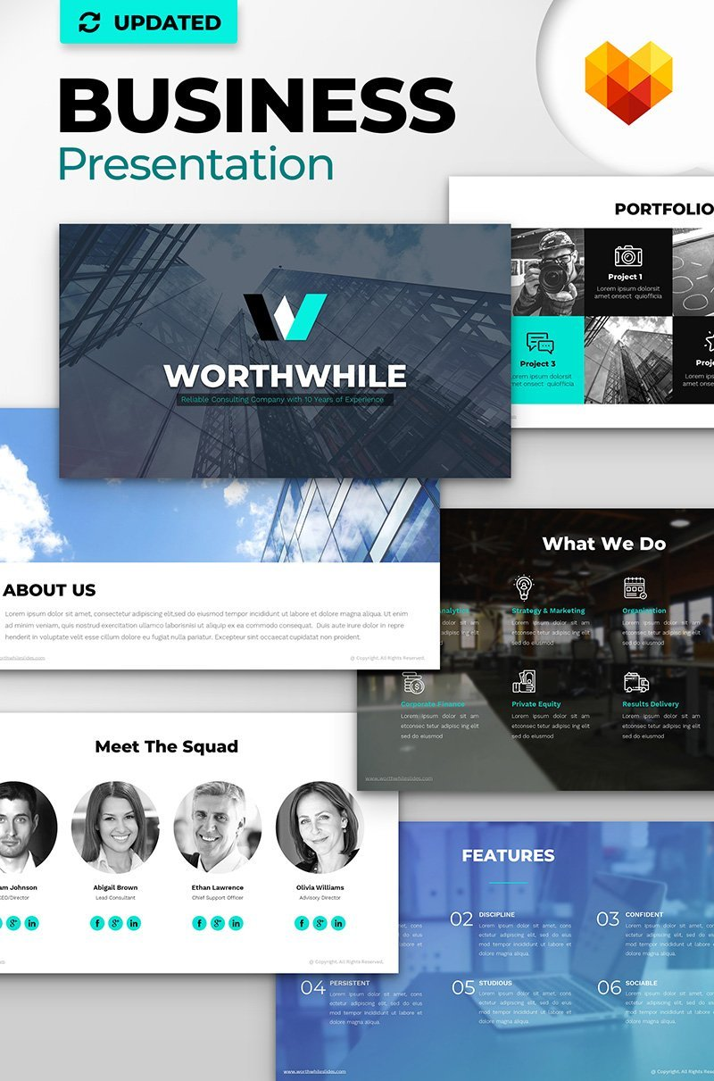 """WorthWhile Consulting PPT Design"" PowerPoint Template №66801"