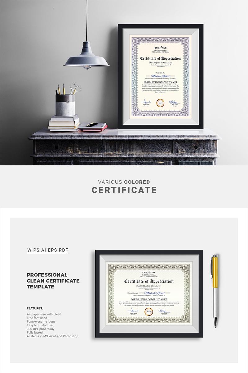 "Zertifikat-Vorlage namens ""Corporate & Modern Word Multipurpose"" #66851"