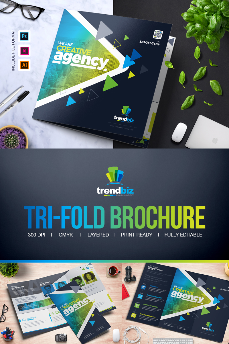 6dafbe323fd2 Square and Tall Tri-Fold Brochure | InDesign, PSD and EPS File Formats  Corporate identity-mall #66923