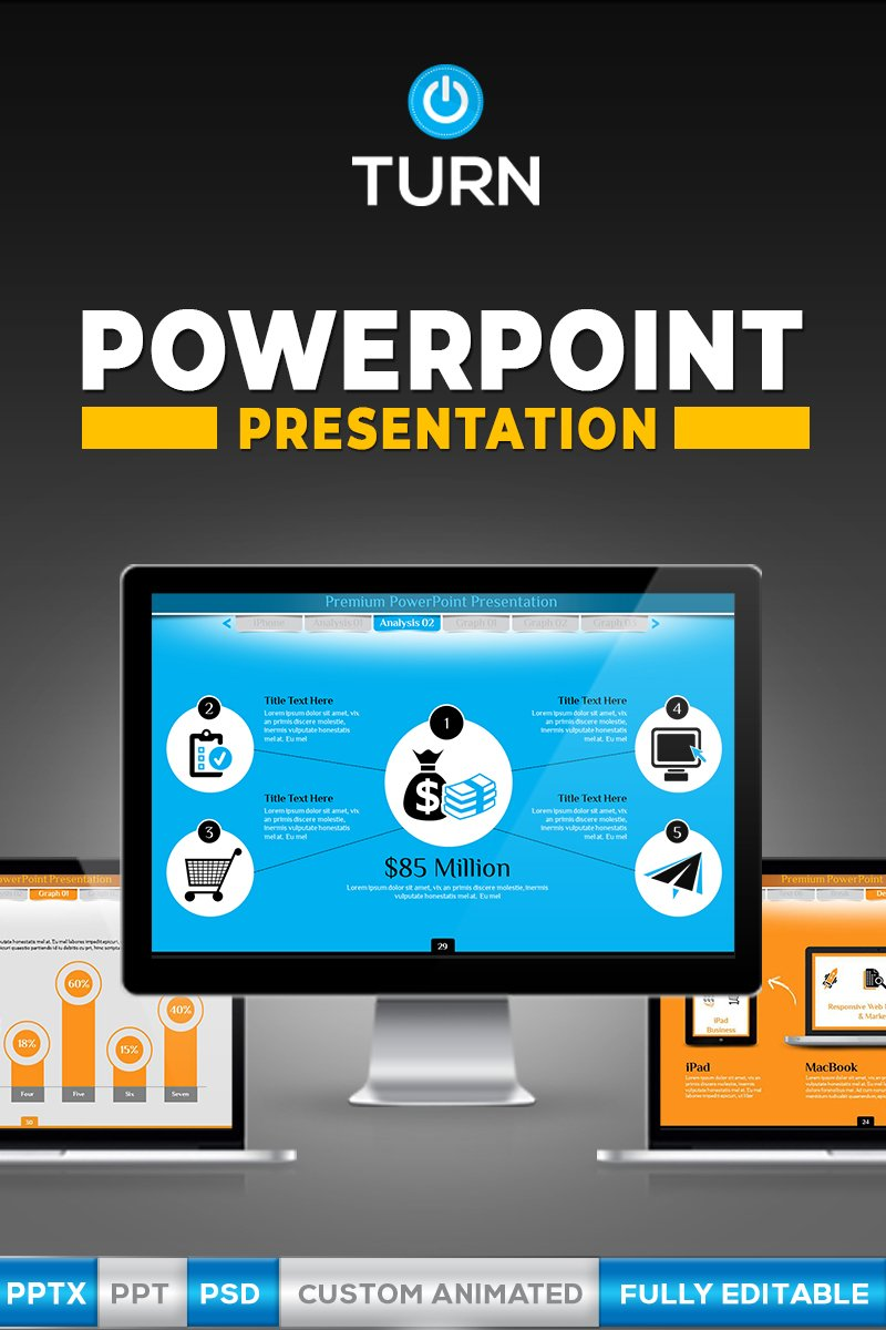 """Animated Business"" PowerPoint Template №66991"