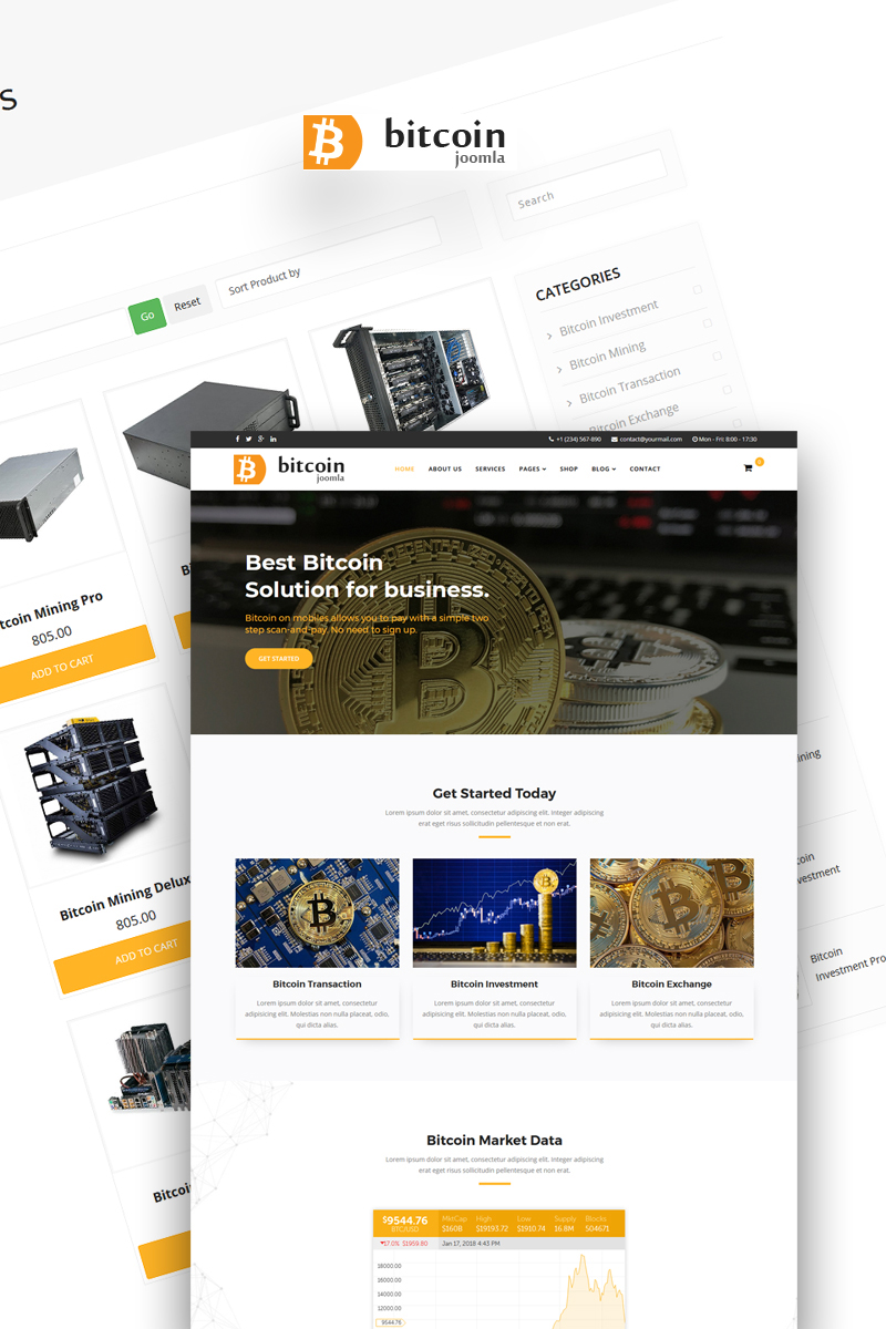 Bitcoin - Mining and Cryptocurrency Template Joomla №66907