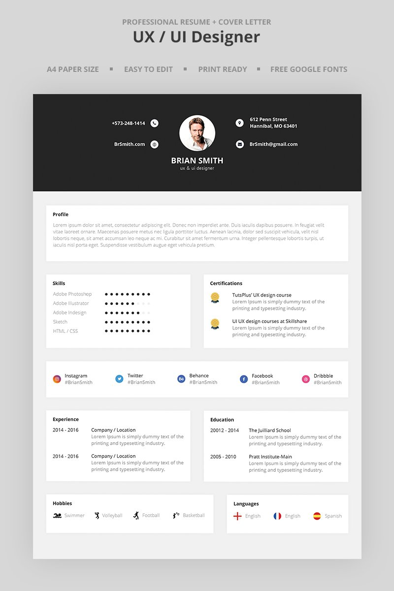brian smith  ui designer resume template  66981