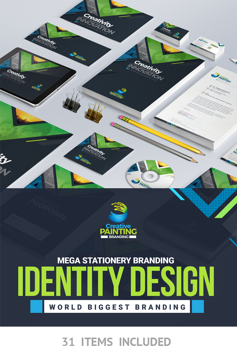 """Business Mega Branding Stationery Identity Template"" 企业设计模板 #66921"