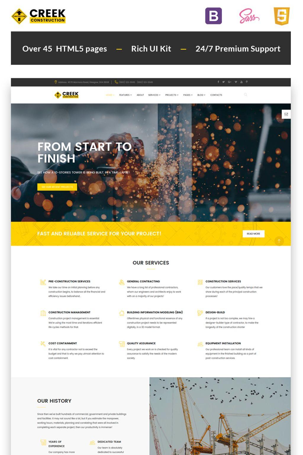 """Creek - Construction Company HTML5"" - адаптивний Шаблон сайту №66971"