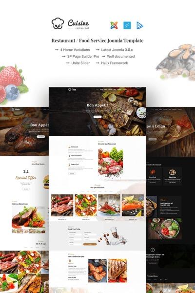 Cuisine - Restaurant / Food Service Joomla Template #66965