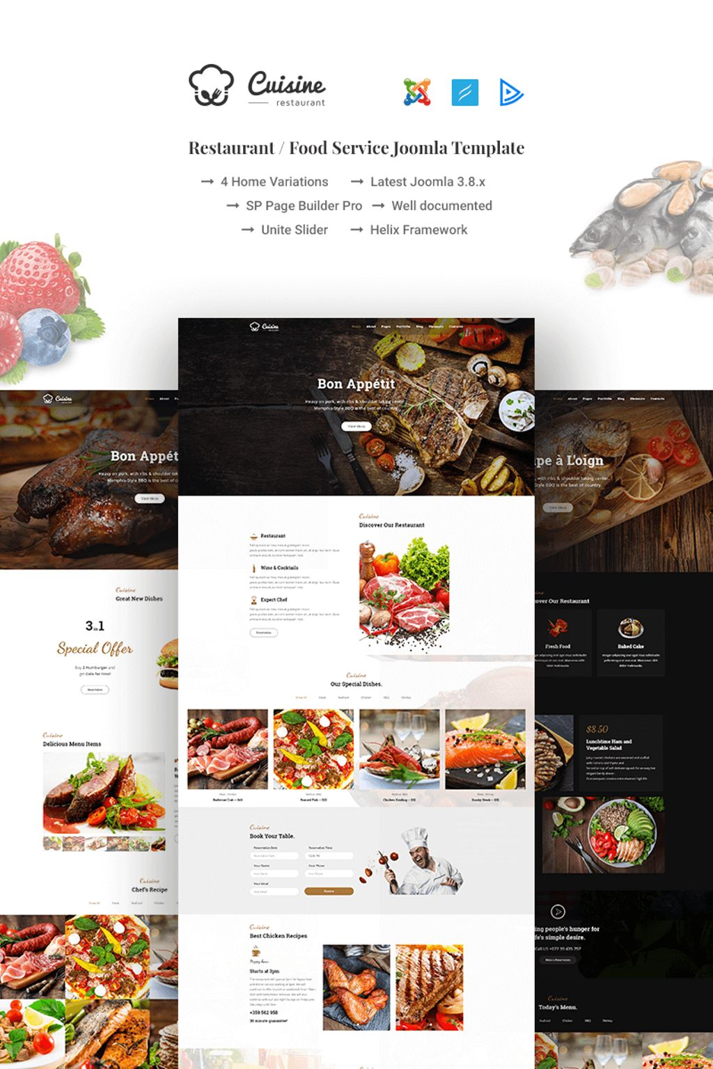 """Cuisine - Restaurant / Food Service"" 响应式Joomla模板 #66965"