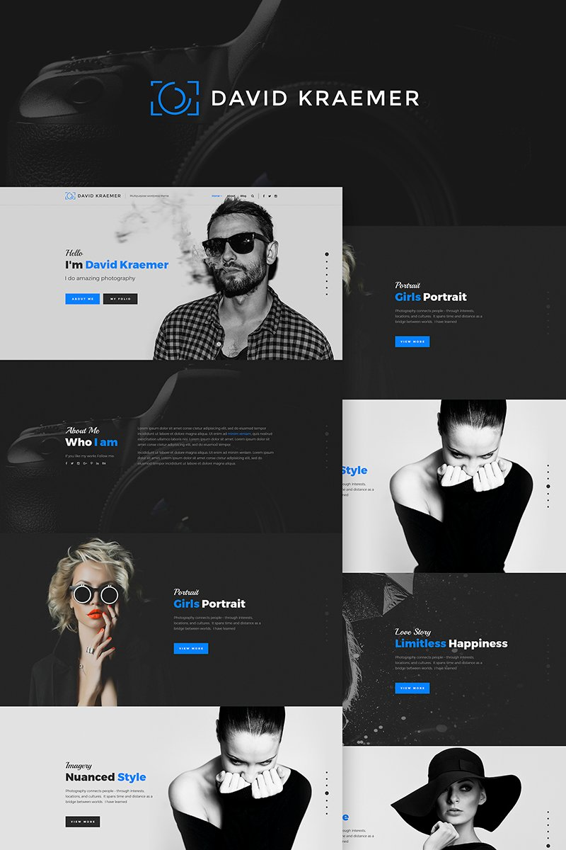 """David Kraemar - Photographer"" Responsive WordPress thema №66972"